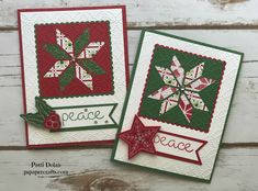DIY beautiful Christmas card featruing the Stampin Up Christmas Quilt suite