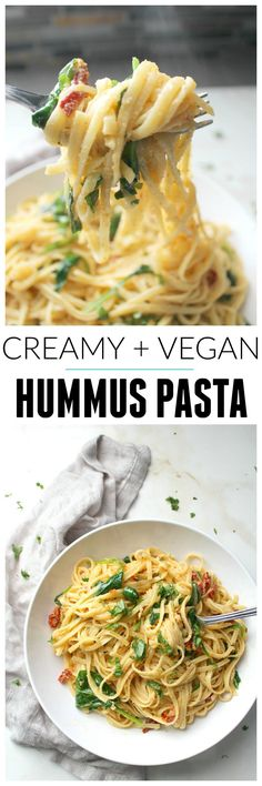 "This One Pot Creamy Hummus Pasta takes 20 minutes (and yes, it's vegan) | <a href=""http://ThisSavoryVegan.com"" rel=""nofollow"" target=""_blank"">ThisSavoryVegan.com</a>"