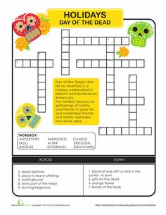 Worksheets: Day of the Dead Crossword