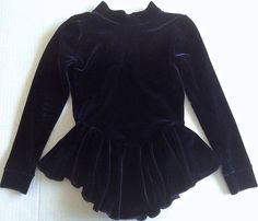 Velvet Figure Skating Dress Dance Leotard Midnight Blue Girls Size Small #Unbranded