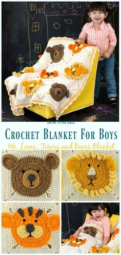 Lions and Tigers and Bears Blanket Free Crochet Pattern- #Crochet; #Blanket; Free Patterns For Boys