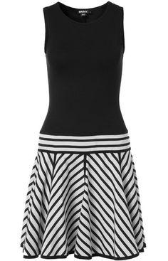Fekete-fehér csíkos szoknyás ujjatlan ruha (DKNY)