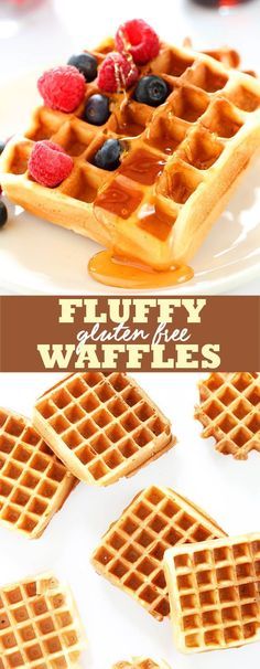 The perfect fluffy gluten free waffles made with yogurt and just a touch of sugar, with a lightly crisp outside. Enjoy this easy recipe fresh, or frozen! # Easy Recipes for work Fluffy Gluten Free Waffles Waffles Sin Gluten, Gluten Free Pancakes, Gluten Free Recipes For Breakfast, Gluten Free Breakfasts, Gluten Free Cooking, Dinner Recipes, Dessert Recipes, Krusteaz Gluten Free Waffle Recipe, Rice Flour Waffle Recipe