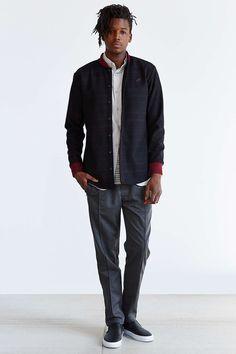 Publish Wool Baseball Collar Button-Up Shirt Jacket