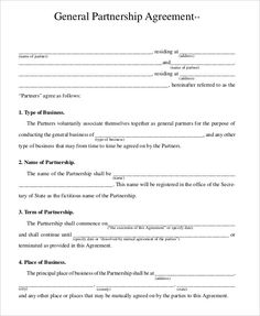 Partnership Contracts Template Agreement Form With Sample Biztreecom
