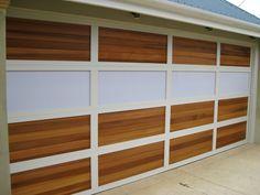 Aluminium frame with Cedar timber inserts and translucent Makrolon inserts. Custom Garage Doors, Garage Door Design, Custom Garages, Your Design, Custom Design, Sectional Garage Doors, Laser Cut Panels, Outdoor Ideas