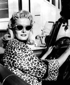 Jane Russell. S) 50s leopard driving sunglasses coat jacket photo print ad magazine promo