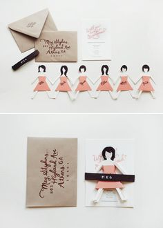 Bridesmaid paper doll cutouts -- An adorable way to ask your friends to be part of your big day