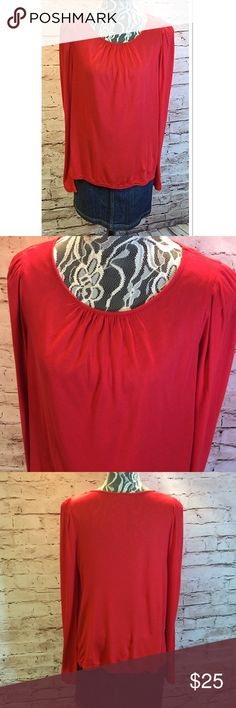 SZ LG ALLEN B. MODAL RED LONG SLEEVE BLOUSE Gorgeous red long sleeve blouse with lots of stretch and super soft. Modal is a rayon like material. Gently used Allen B. Tops Blouses