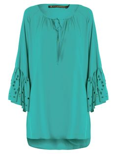 CAFTAN SOLID PAULA EMBROIDERY - FARM - AZUL - Shop2gether                                                                                                                                                      Mais