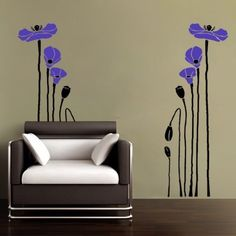 Vinyl Wall Art Decal Poppy Flowers 2 colorsWall Art by WowWall