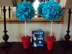 pom topiaries - Dr. Suess themed babby shower decor