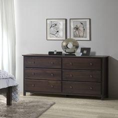 Espresso Finish Solid Pine Shaker 6-drawer Dresser - Overstock™ Shopping - Great Deals on Dressers