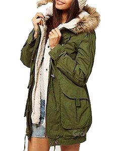 YUNY Mens Mid Long Hooded with Faux Trimmed Hood Thicken Parkas Long Coats Army Green M
