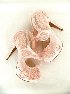 f009d693d7dd Wedding Shoes- Bridal Shoes Embroidered Blush Lace with Pearls and Ribbons