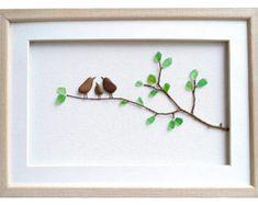 Bird family wall art, Sea glass art, Pebble art family of 3 gift, New home housewarming gift, Framed stone art, Family home decor