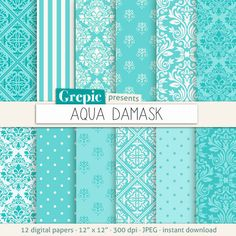 "SHORTLIST - LOVE THIS SET, BUT ONLY AQUA, NO LIME. Aqua damask: digital paper ""AQUA DAMASK"" backgrounds pack with aqua / teal / turquoise / blue classical damask patterns"