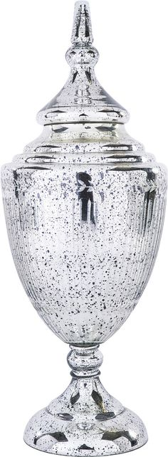 "A stunning silver urn from the accessory collection at Bradburn Gallery Home.  This one is 28"" tall!"