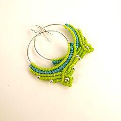 Macrame Hoop Earrings, Hoop Earrings In Apple Green And Aqua by neferknots on Etsy