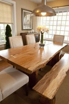 Made from solid wood and iron, your Live Edge Wood Dining Table is hand-sanded, finished and sealed with a durable finish to preserve its raw edge and rustic wood grain. Thanks to natural variations a Dinning Room Tables, Dining Table Design, Dining Area, Dining Rooms, Dining Chairs, Live Edge Wood, Live Edge Table, Live Edge Furniture, Rustic Furniture