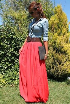see more Beautiful Long Pink Skirt with Jeans Sleeve Shirt, Clutch Bag and Accessories