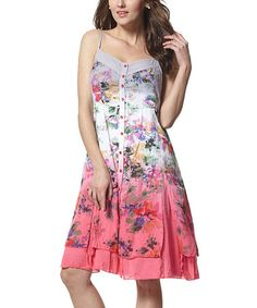Loving this White & Pink Floral Ombré A-Line Dress on #zulily! #zulilyfinds