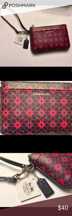 Coach navy and pink wristlet BRAND NEW WITH TAGS Coach navy and pink wristlet BRAND NEW WITH TAGS. It seems like it's pink and black but I promise it's pink and navy. Always up to accepting offers! Coach Bags Clutches & Wristlets