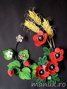 Gifts of Summer - Quilled Flowers and Fruits - Poppies, Strawberries, Corn Ears