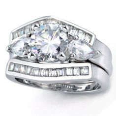 Bling Jewelry 925 Silver Round CZ Baquette Engagement Wedding Ring Set