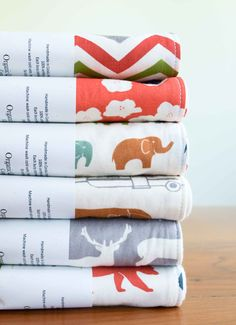 Organic Burp Cloths, Set of Two, JUST FOR FUN Collection