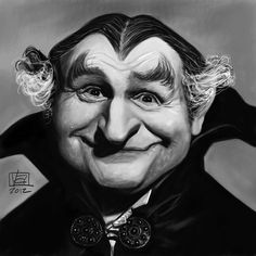 Caricatura de Al Lewis en La Familia Monster.
