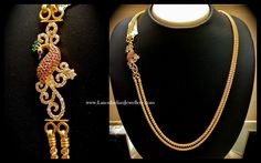 Double stringed twisted design 22 karat gold chain with peacock design mugappu or side pendant adorned with semi precious gemstones from nalli Indian Wedding Jewelry, Indian Jewelry, Bridal Jewelry, Bijoux Design, Schmuck Design, Indian Jewellery Design, Jewelry Design, Antique Jewellery, Gold Chain Design