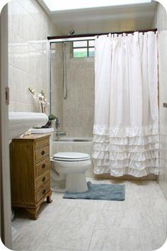 White ruffled shower curtain x standard size - Shabby Chic -Beach -Cottage White Ruffle Shower Curtain, Pink Shower Curtains, Ruffle Curtains, Burlap Curtains, Girl Bathrooms, Bathroom Kids, Cortina Box, Diy Design, Shabby Chic Beach
