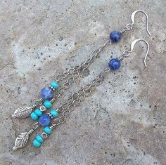 Sky - Sodalite and Czech Turquoise Chain Dangle Earrings by Angelof2 on Etsy, $15.00