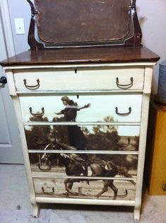 Old dresser transformed into a really neat western style piece of furniture.  Very cool