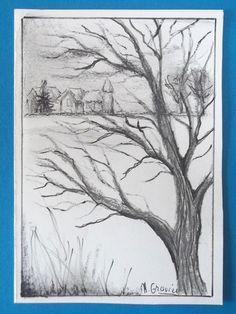 Arbre en noir et blanc (pastel, crayon et feutre)