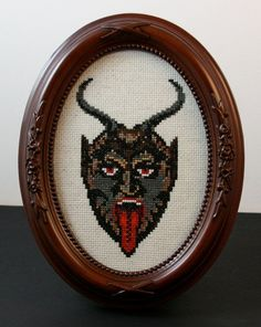 Krampus needlepoint is PERFECT for the sitting room. Or punishment basement.