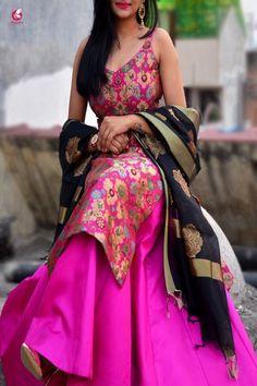Buy Magenta Banarasi Padded Kurta Online in India Long Kurti With Skirt, Kurti Skirt, Long Kurta With Lehenga, Indian Party Wear, Indian Wedding Outfits, Indian Outfits, Indian Attire, Indian Wear, Brocade Lehenga