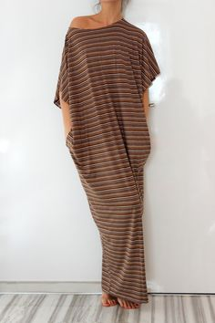 Brown stripes Maxi oversized plus size by cherryblossomsdress