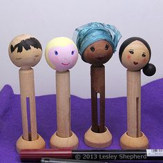 Tutorial for Peg People and Clothespin Dolls: How to Paint Hair and Facial Features for Clothespin Dolls