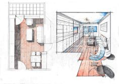 Living Room Perspective. Foreground works really well for giving the drawing a dynamic feel. Again, proportion is a bit off. Pencil + Colored Crayons + Marker on 50x70 Standard Paper, 4 Hours Completion Time #architecture #architect #rendering