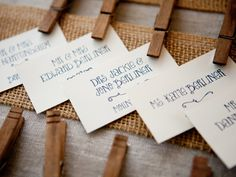 clothespins to hold table cards