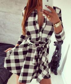 Vestido Xadrez Evasê - Comprar em Loja Style Me
