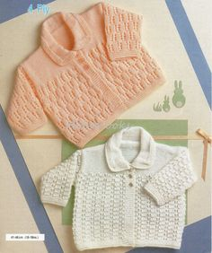 B8146  Baby patterned cardigans with collar matinee coats matinee jackets newborn 16-18 inch 4 Ply baby knitting pattern PDF instant download  Please