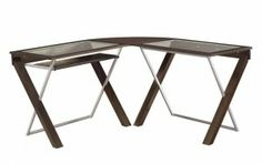 Give your home office a sleek new work space with this modern L shaped computer desk. It is built with a unique X shaped design and accented with titanium silver accents and a tempered clear glass top. Pricing: $229.99. For more information visit: http://sd-office.com/i-7774618-x-text-collection-espresso-laminate-l-shaped-computer-desk.html