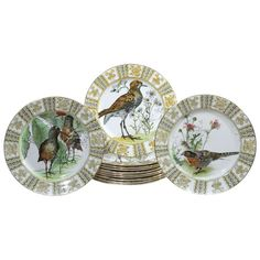 Set of 12 Royal Doulton Dinner Plates with Hand Colored Birds | From a unique collection of antique and modern porcelain at https://www.1stdibs.com/furniture/dining-entertaining/porcelain/