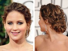 Jennifer Lawrence Golden Globes hair: Messy curls and braids up do Wedding Hair And Makeup, Bridal Hair, Hair Makeup, Bridesmaid Hair, Prom Hair, Trendy Hairstyles, Wedding Hairstyles, Celebrity Hairstyles, Messy Curls
