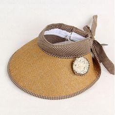 Ladies khaki flower sun visor hat with bow polka dot straw hat wide brim b9217808728