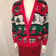 UGLY CHRISTMAS SWEATER 80s Eighties Trees Presents Stockings Cardigan Large L Red White Green by UglySweaters4U on Etsy $19.99