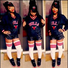 Chicago Bulls Outfit Swag Young Fresh Fly Dope Black Beauty Knee High Socks Fashion Style Trend Leather Shorts Krush Girlz Sweet Anite